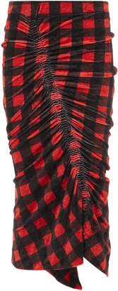 Preen by Thornton Bregazzi Ivana Red Gingham Velour Skirt