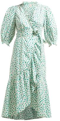 Rebecca Taylor Floral Print Cotton Wrap Dress - Womens - Green Multi