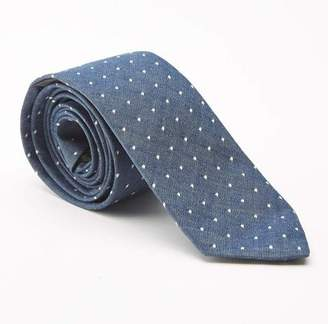 Blade + Blue Blue Chambray with Polka Dots Cotton Tie