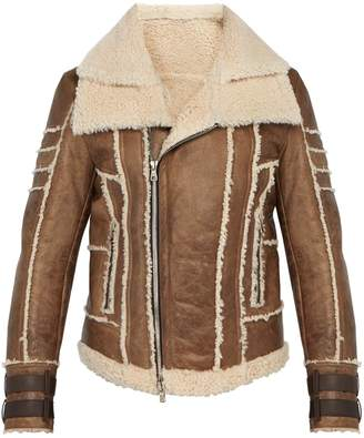 Balmain Leather and shearling biker jacket