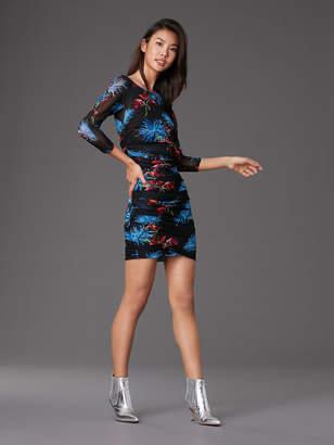 Diane von Furstenberg 3/4 Sleeve Mesh Ruched Mini Dress