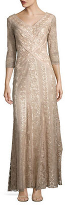 Tadashi Shoji Embellished Three-Quarter Sleeved Gown $559 thestylecure.com