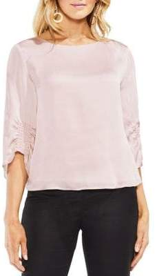Vince Camuto Zen Bloom Gathered-Sleeves Blouse