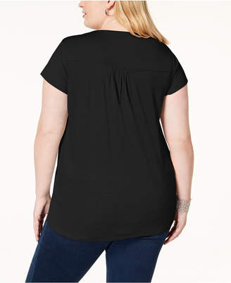 INC International Concepts I.n.c. Plus Size Mixed-Media Twist-Front Top, Created for Macy's