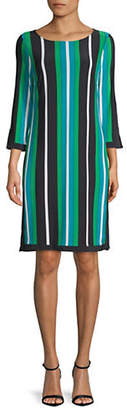 INC International Concepts Striped Three-Quarter Sleeve Shift Dress