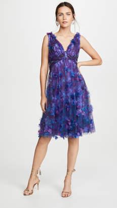 Marchesa Sleeveless V Neck Empire Waist Cocktail Dress