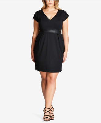 City Chic Trendy Plus Size Faux-Leather-Trim Dress