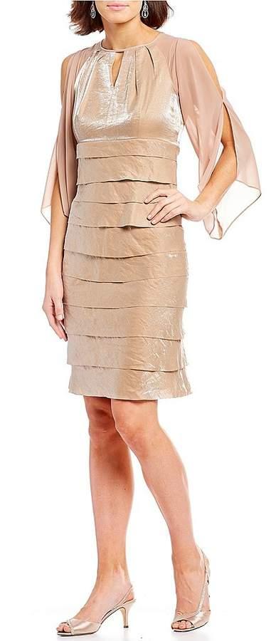 Ignite Evenings Split Sleeve Shimmer Chiffon Ruffle Dress