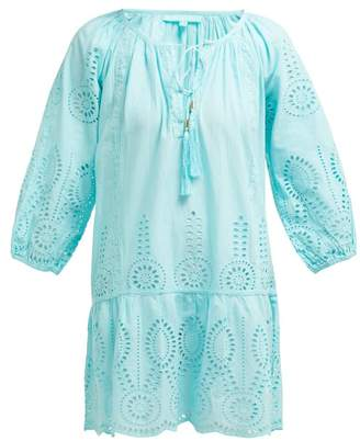 Melissa Odabash Ashley Cotton Broderie Anglaise Mini Dress - Womens - Light Blue