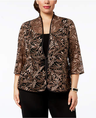 Alex Evenings Plus-Size Embroidered Jacket & Shell