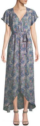 Ella Moss Floral-Print Short-Sleeve Maxi Wrap Dress