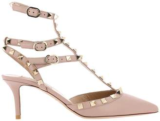 Valentino Garavani Pumps Rockstud Ankle Strap In Bicolor Opaque Leather With Mini Metal Studs
