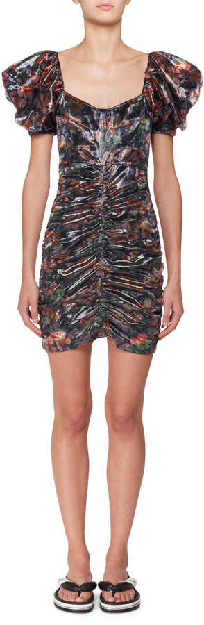 Isabel Marant Oxalis Hawaiian Puffy-Sleeve Ruched Mini Dress