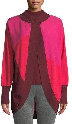 St. John Links Cashmere Colorblock Intarsia Cocoon Cardigan