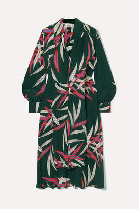 Diane von Furstenberg Von Printed Silk Crepe De Chine Midi Dress - Emerald