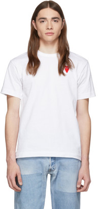 Comme des Garcons White and Red Long Heart Patch T-Shirt