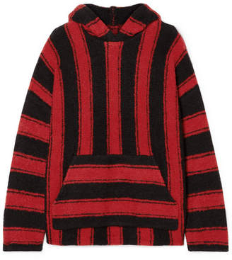 Amiri Baja Oversized Hooded Striped Wool-blend Sweater - Red