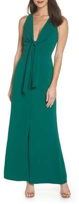 Harlyn Plunge Neck Tie Front Maxi Dress