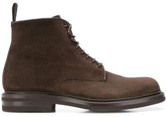Green George lace-up combat boots