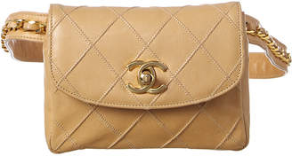 Chanel Beige Quilted Lambskin Leather Chain Belt Bag