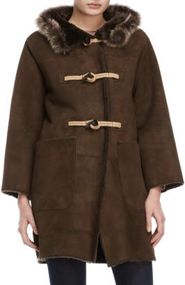 Owen Barry Suede Hooded Toggle Coat