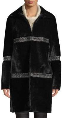 Elie Tahari Eden Dyed Shearling Coat