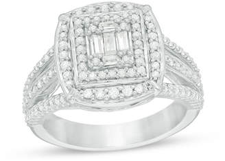 Zales 3/4 CT. T.W. Baguette and Round Composite Diamond Double Frame Multi-Row Engagement Ring in 14K White Gold