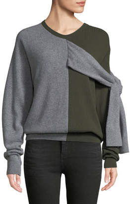 Carven Crewneck Split-Color Wool-Cashmere Sweater w/ Ties