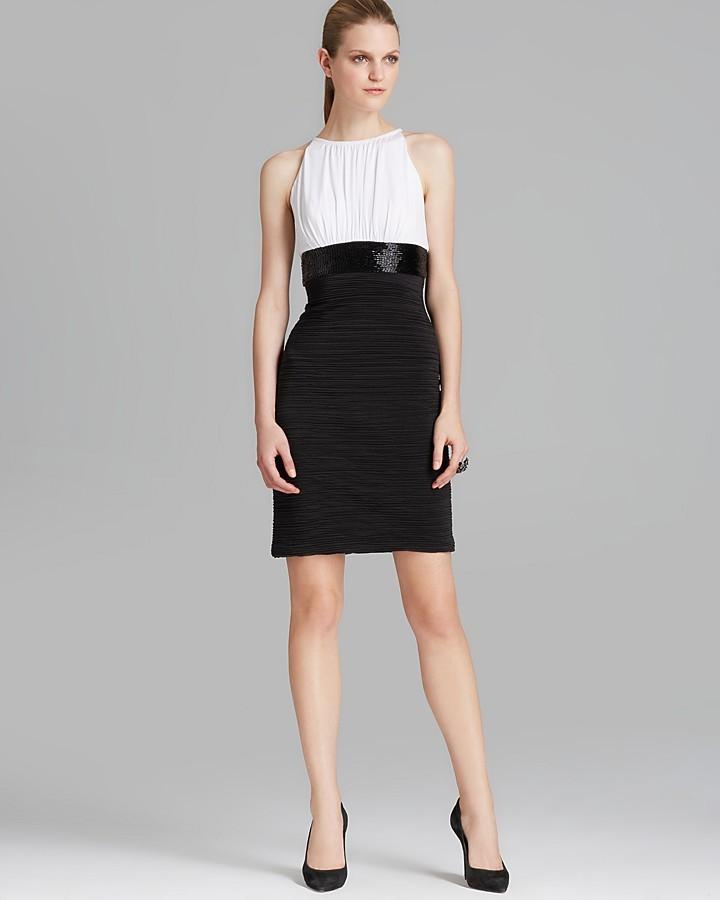 Boutique Ruched Color Block Jersey Dress