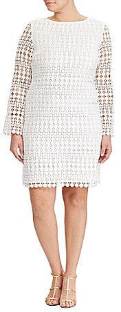 Lauren Ralph LaurenLauren Ralph Lauren Plus Round Neck Long Sleeve Geometric Lace Shift Dress