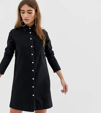 Asos DESIGN Petite denim shirt dress in black