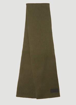 Prada Logo Ribbed Knit Scarf in Green