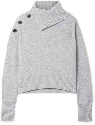 Le Kasha - Oversized Button-embellished Cashmere Turtleneck Sweater - Light gray