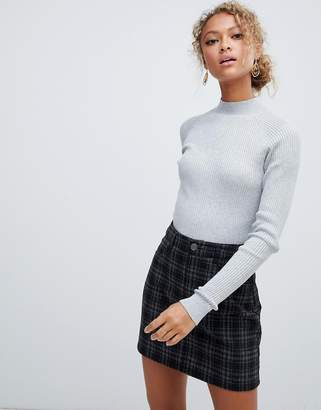 New Look stand neck sweater in gray