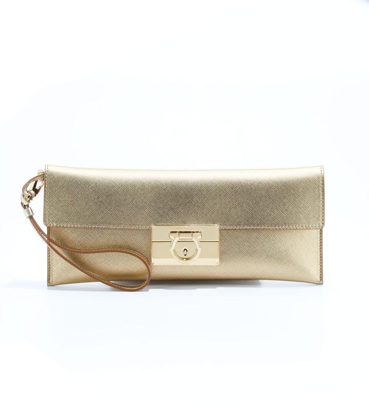 Salvatore Ferragamo Lock Story Metallic Clutch Bag, Gold