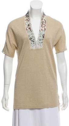 Hermes Silk & Linen V-Neck Blouse