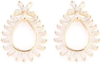Riah Fashion Teardrop-Shape-Rays Zirconia Earring