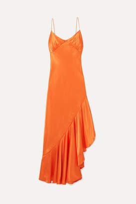 The Line By K - Allegra Asymmetric Ruffled Satin Dress - Orange