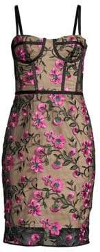 Milly Floral Embroidered Bustier Sheath Dress