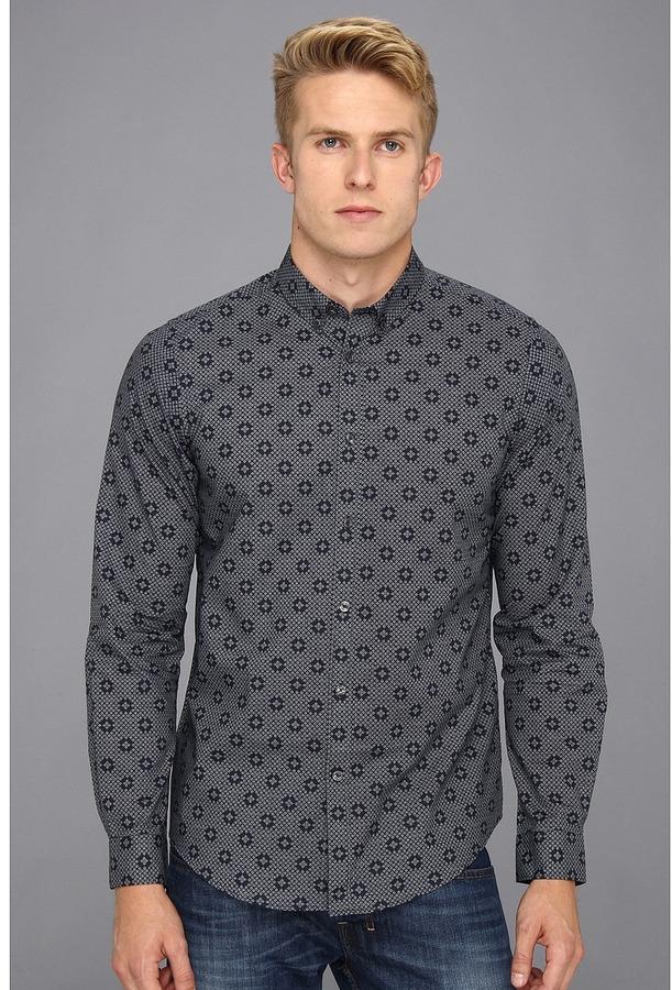 Ben Sherman Geometric Spot Print L/S Woven Shirt (Staples Navy) - Apparel