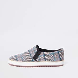 River Island Womens Grey check chunky slip on plimsolls