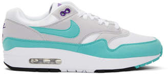 Nike White and Blue Air Max 1 Anniversary Sneakers