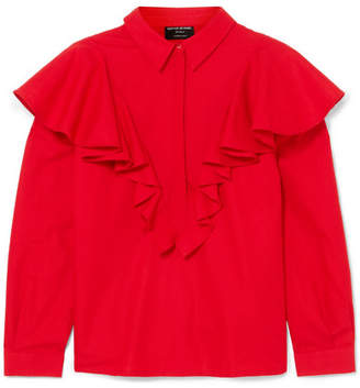 Mother of Pearl Ruffled Cotton Blouse - Red