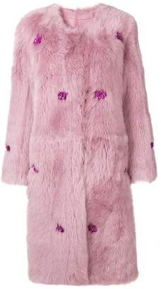 Liska floral embellished loose coat