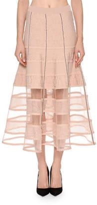 Alexander McQueen Patchwork Jacquard Lace Skirt with Crinoline Hem