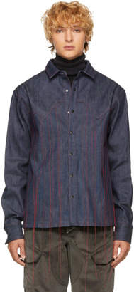 Pyer Moss Blue Denim Running-Stitch Western Shirt