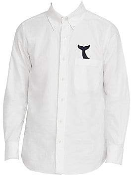 Thom Browne Men's Straight Fit Embroidered Whale Tail Shirt