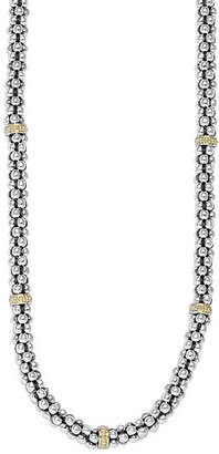 """Lagos Sterling Silver & 18K Caviar Station Necklace, 16"""""""