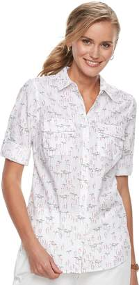 Croft & Barrow Women's Croft & Barrow?? Roll-Tab Woven Shirt