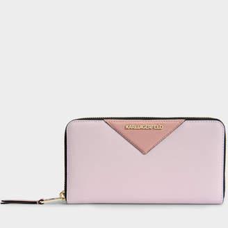 Karl Lagerfeld K/Klassik Large Zip Around Wallet in Pink Saffiano